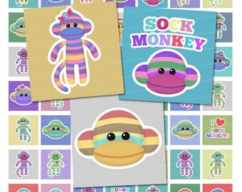 Cute Sock Monkey Digital Collage Sheet - 1x1 Inch Squares - Instant Download
