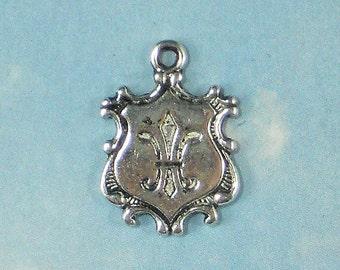 12 Fleur de Lis Charms Coat of Arms Antiqued Silver Pendants NOLA Ragin Cajuns (P864)