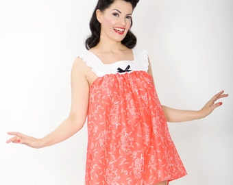 The Eva babydoll nightie - super soft pink floral cotton lawn - XS-XL available - 1950s 1960s inspired - free shipping