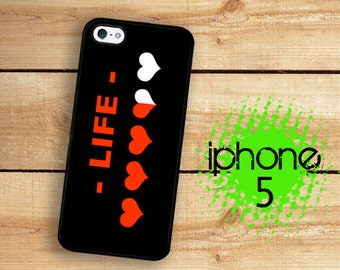 iPhone 5S SE 8 Bit Video Game Heart Meter Plastic or Rubber Case for iPhone 5 iPhone 5S