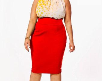 jibri plus size high waist pencil skirt tropicana by
