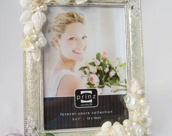 "Beach Wedding Frame, Beach Wedding Picture Frame, Nautical Wedding Frame, Beach Decor Seashell Frame, Shell Frame, 5x7"" or 8x10"" Silver"