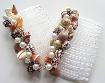 Seashell Hair Accessories, Nautical Beach Wedding Shell Hair Accessories, Beach Hair Combs, Shell Hair Combs,  #CSCOMB, #WSCOMB