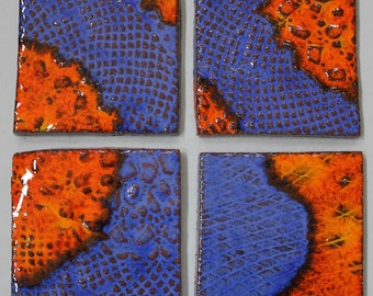 Blue - Orange Ceramic Coaster set of four Item 016