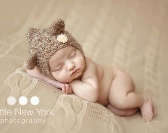 Teddy Bear Newborn Boy Hat Photo Prop Hat Mohair Going Home Outfit Ready To Ship Pixie Boy Newborn Girl Coming Home Bonnet Ears Brown Bear