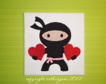 Ninja Love 4, INSTANT DIGITAL DOWNLOAD, Valentine Embroidery Design for Machine Embroidery 4x4