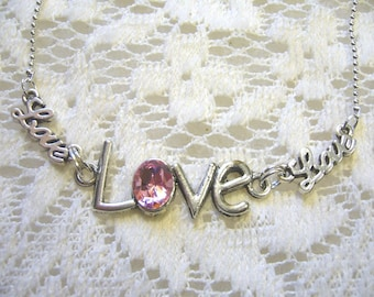 Pink Love Pendant And Necklace