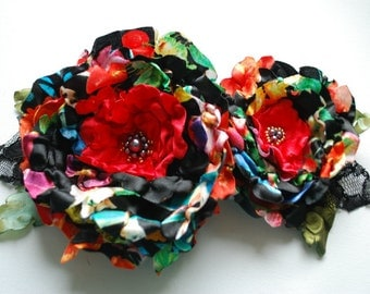 country love, colorful satin flowers, brooch, bridal hair clip, bridesmaids headpiece, sash, weddings accessories, black red hair flowers