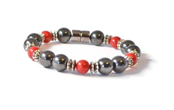 Red Coral and Black Magnetic Hematite Bracelet, Magnetic Bracelet, Hematite Jewelry, Healing Bracelet, Good Health Jewelry