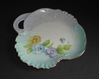 Vintage Hand painted Pansies Decorative Dish with handle