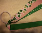 Shamrock, St. Patrick's Day Pink and Green  Pony Tail Holder Cheer Hair Bow with Streamers,