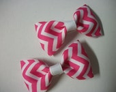 Baby Bows,Hot Pink and White Chevron Print  Hair Bows,  Bow Tie Hair Bow Set of Two