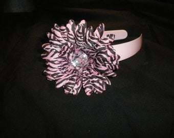 Pink Zebra Flower Hair Bow on Pink 1inch Headband