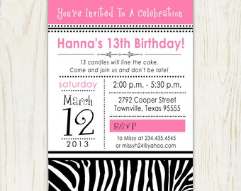 Zebra Print Birthday Invitation - Digital File - note card - Party Invitation