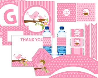 Pink Bird Baby Shower Party Kit Printable - 11 pcs - Instant Download DIY
