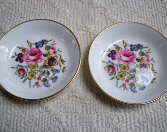 Vintage Collectibles Porcelain Set of Two Bone China Floral  Nut Dishes Ring Dishes