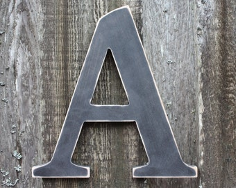"8"" Wood Letter Uppercase Shabby Chic Home Nursery Decor - Handpainted Distressed Wooden Alphabet Wall Letter Sign ABC Black A"