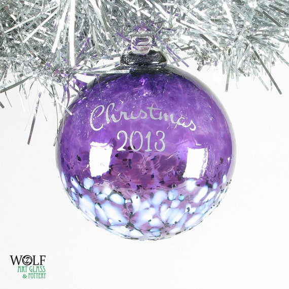Blown glass ornament custom personalized christmas etched