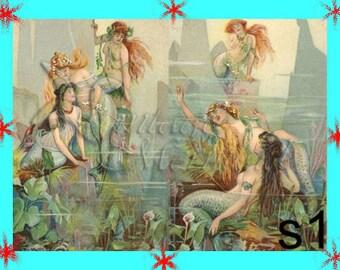 vm1 QUILTING FABRIC Block Vintage Victorian Mermaids Postcard Fabric Block Applique for Quilt 5 x 7
