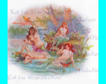 s467 Vintage ROMANTIC VICTORIAN MERMAIDS Plate Quilt Fabric Blocks for Mermaid Quilting.