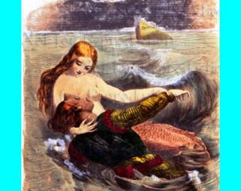 s523 Romantic VINTAGE VICTORIAN MERMAID Fabric Block Mermaid Print Quilt Applique Mermaid Panel.