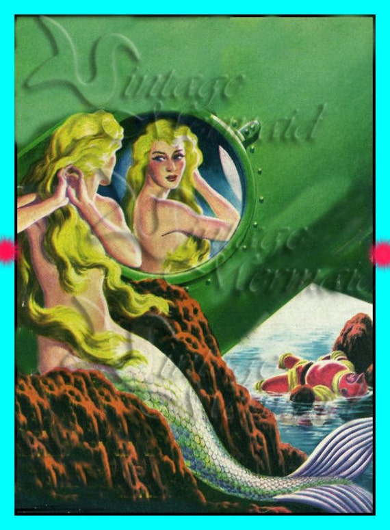 s249 Neat QUILTING FABRIC 1950's Retro Pinup Mermaid Fabric Block Applique For Quilt.