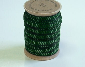 Deep Green and Lime Stitched Woven Ribbon - 10 Yards on Wooden Spool - 5mm 3/16 Inch Width