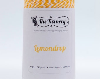 Full Spool - 240 Yards - Lemondrop/Marigold Yellow Baker's Twine