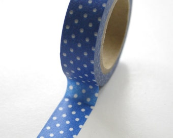 Washi Tape - 15mm - White Dots on Medium Blue Pattern - Deco Paper Tape No. 471
