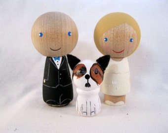 Full Custom Personalized Kokeshi Peg Doll Wedding Cake Topper plus  one pet