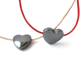 Heart Necklace Hematite Leather  Simple Everyday Necklace Leather Heart Boho Necklace  Blood Stone  Minimal Gunmetal Valentines Heart Gift