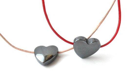 Heart Necklace Hematite Leather  Simple Everyday Necklace Leather Heart Boho Necklace  Blood Stone  Minimal Gunmetal Valentines Heart Gift