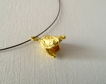 Gold Pendant 18KT Gold Flower Textured Pendant Flower Pendant Gold Flower