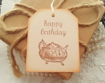Happy Birthday Teapot Tags Set of 6