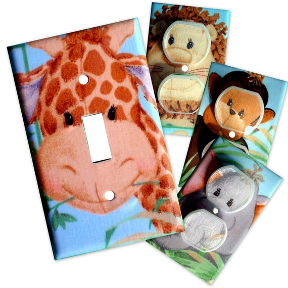 Jungle Babies Light Switch Plate/Outlet Covers Set with matching safety plugs