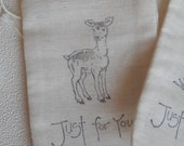 Petite hand stamped muslin bags (5) - Forest Friends