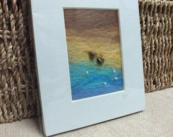 Sea Seaside Felt Painting - Merino Wool Seascape - Shell Detail