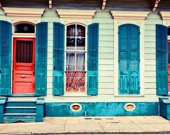 """New Orleans Photograph, """"turquoise shutters"""" Travel Photography, Colorful Pastel Houses, French Quarter, architecture, NOLA"""
