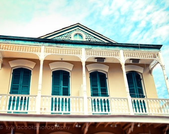 "New Orleans art, ""Aqua and Yellow House"" Travel Photography, Pastel Houses, French Quarter photo, architecture, NOLA, yellow, aqua"