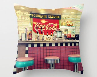 "Photo pillow,18x18 or 22x22 ""Retro diner"",decorator pillow, vintage home decor, soda fountain,decorator pillow,kitch,diner"