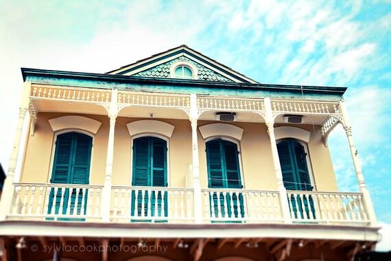 "New Orleans art, ""Aqua and Yellow House"" Travel Photography, Pastel Houses, French Quarter photo, architecture, NOLA, yellow, aqua"