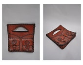 1970s vintage leather bag hand made purse clutch tote hippie whiptstich