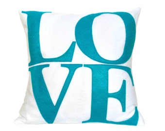 LOVE Pillow Cover Appliquéd in Peacock on Pure White Eco-Felt 18 inches