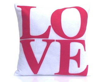 Pink Love Pillow Appliqued Eco-Felt Cover on Pure White - 18 inches