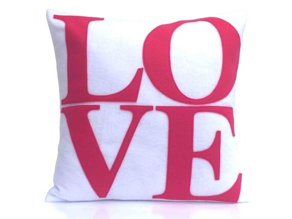 LOVE Throw Pillow Cover Appliquéd in Pink on Pure White Eco-Felt 18 inches