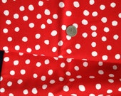 SALE-25%-2 Yards Vintage Red Polka Dot Cotton