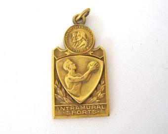 1936 Basketball Charm Award, Intramural Sports Washington and Lee University Virginia, Engraved Champions 1936 by Balfour