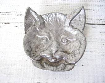 Vintage Cat Face Ashtray or Pin Dish, Cast Metal Figural Cat Catch-All Plate
