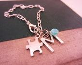 Best friend gift. Friendship bracelets. Silver bracelet. Puzzle piece, initial charm, glass bead birthstone, any color.