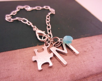 Best friend gift. Friendship bracelets. Silver bracelet. Puzzle piece, initial charm, glass bead birthstone, any color.